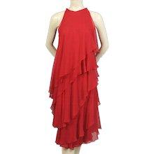 Halston 1970's Red Silk Chiffon Dress