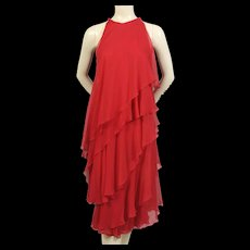 Halston 1970's Red Silk Chiffon Dress