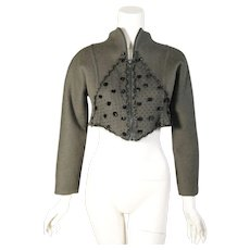 Geoffrey Beene Loden Green Bolero with Black PomPoms