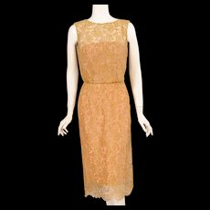 1960's Estevez Gold Lace Dress