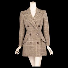 Patou Haute Couture Wool Plaid Jacket by Christian Lacroix