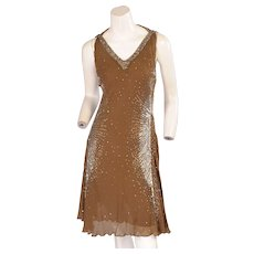 2fdbca5f06fc Cavalli Sexy Hand Beaded Silk Halter Dress