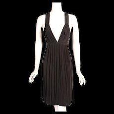Sonia Rykiel Low Cut Black Silk Dress, Never Worn