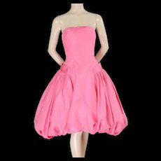 1950's Helena Barbieri Strapless Pink Silk Bubble Hem Evening Dress