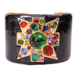 Kenneth Lane Black Enamel Cuff with Jeweled Maltese Cross