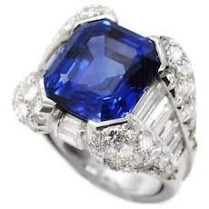 1970s Sapphire & Diamond Ring by Massoni