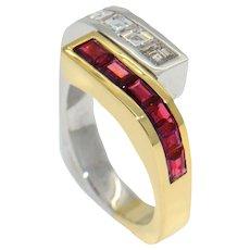 Italian 1980s Diamond and Ruby Ring