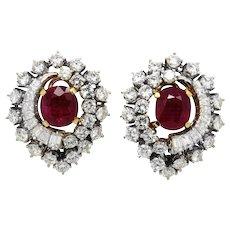 Italian Pair of Ruby and Diamond Earrings