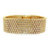 Italian 1970s Diamond and Gold Bracelet