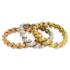 Three Italian 1970s Gold Bracelets