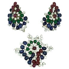 ITALIAN EARRINGS AND BROOCH SET