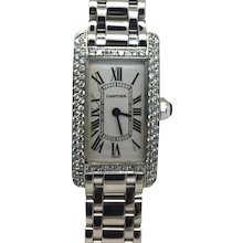 CARTIER TANK AMERICAINE GOLD AND DIAMOND LADY'S WATCH
