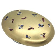 Italian Gold, Diamond, Sapphire and Ruby Powder Box