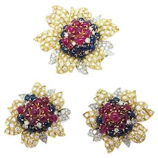 1980s Massoni Ruby, Sapphire and Diamond Set