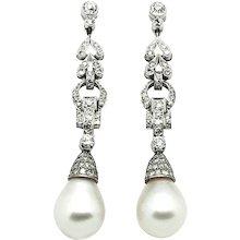 1960-70s Diamond and Pearl Earrings