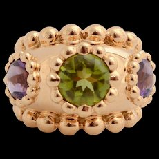 Chanel Peridot Amethyst Gold Dome Ring