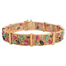 Gold and MultiGem Confetti Bracelet