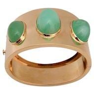 Jade Gold Hinged Cuff Bracelet