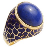 Lapis Lazuli Enamel Gold Ring