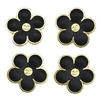 Set of Four Small Chanel Enamel Floral Buttons