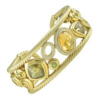 David Yurman Citrine Diamond Gold Mosaic Bracelet Cuff