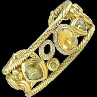David Yurman Citrine Diamond Gold Mosaic Bracelet Cuff