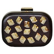 Devi Kroell Wood and Swarovski Crystal Minaudiere