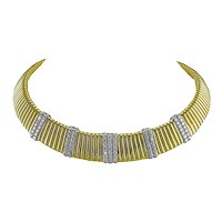 Diamond Gold Tubogas Style Necklace