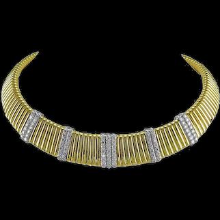 Diamond Gold Tubogas Style Necklace