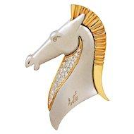 Erte Diamond Gold Le Cheval Horse Head Brooch
