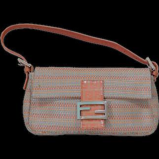 Fendi Woven Leather Baguette Bag