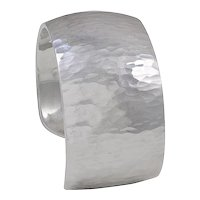 Hermes Sterling Silver Hammered Cuff Bracelet
