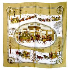 Hermes Winter Motif Silk Scarf