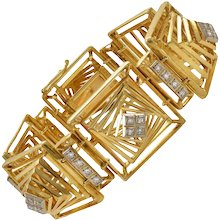 Lalaounis Diamond Gold Geometric Bracelet