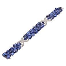 Cabochon Natural Sapphire Diamond Gold Bracelet