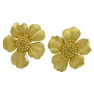 Tiffany & Co. Huge Gold Wild Rose Ear Clips