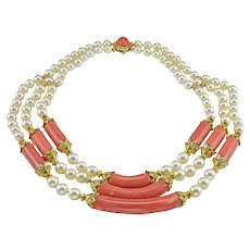 Van Cleef & Arpels Coral Pearl Diamond Gold Choker Necklace