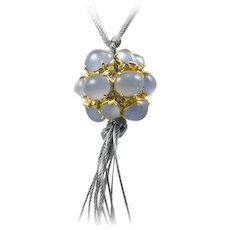 Virginia Witbeck Chalcedony Diamond Gold Ball Necklace