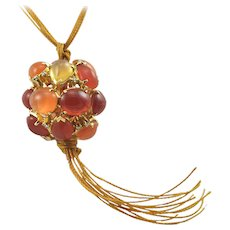 Virginia Witbeck Fire Opal Diamond Ball Pendant