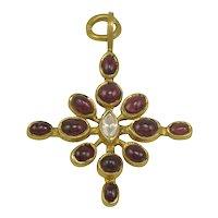 Virginia Witbeck Ruby Diamond Gold Cross Pendant