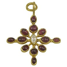 Virginia Witbeck Ruby Diamond Gold Cross Pendant