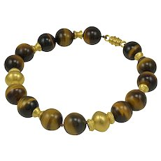 Virginia Witbeck Tiger Eye Gold Bead Necklace
