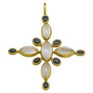 Virginia Witbeck Chalcedony Sapphire Gold Cross Pendant