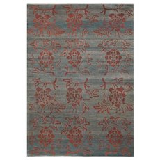 Traditional Natural 'Tang Floral' Wool Area Rug
