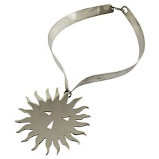 Puig Doria Modernist Sterling Silver Sunburst Necklace - Spain