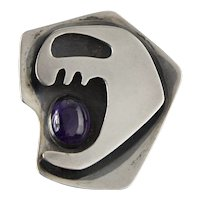 Ed Wiener Modernist Sterling and Amethyst Brooch - 1950