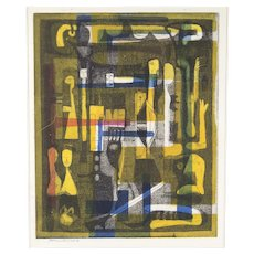 Abraham Hankins Modernist Color Lithograph