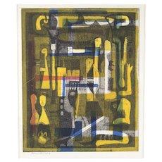 Abraham Hankins Modernist Color Lithograph