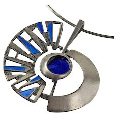 Uno A Erre Modernist Italian Sterling and Enamel Necklace - O.P.Orlandini