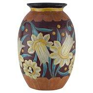 Boch Freres Art Deco Keramis Vase - 1930's Belgium